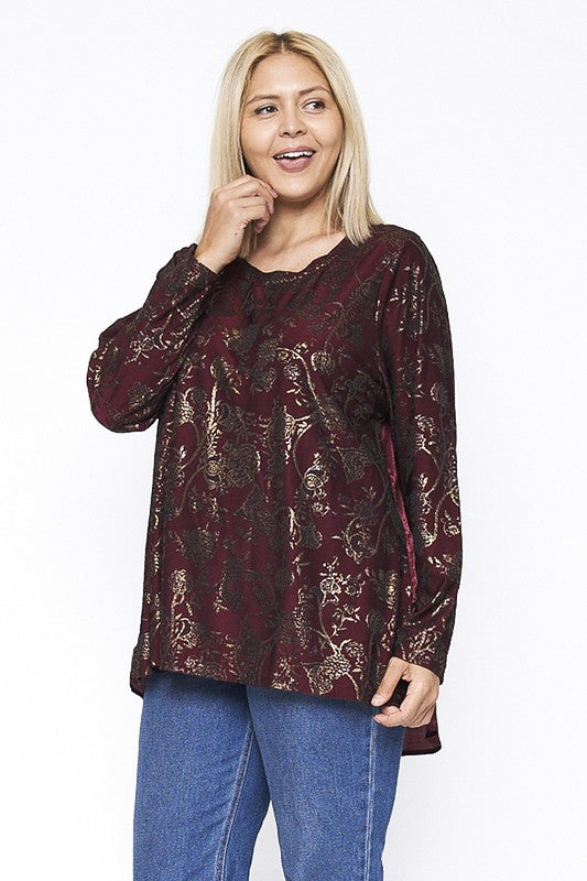 Plus Size Vintage Print top