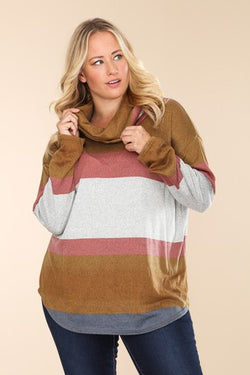 Multi Color Cowl Neck Knit Tunic