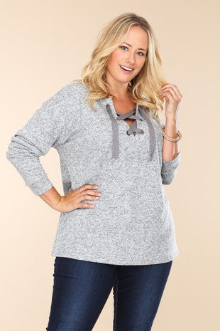 Plus Size Knit Top with Lace-up detail