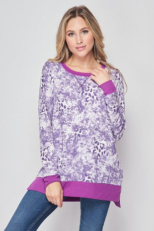 Purple Leopard Star Top