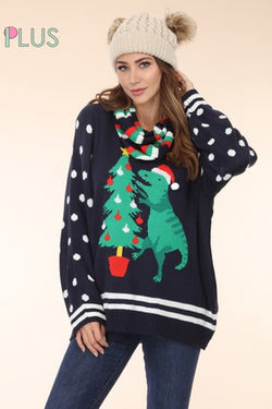 Dinosaur Christmas sweater and scarf