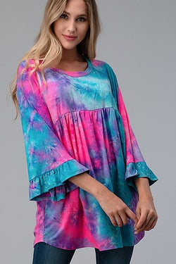 Tie Dye Shirred Front Bell Sleeve top
