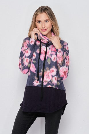 Fleece Rose Funnel Neck