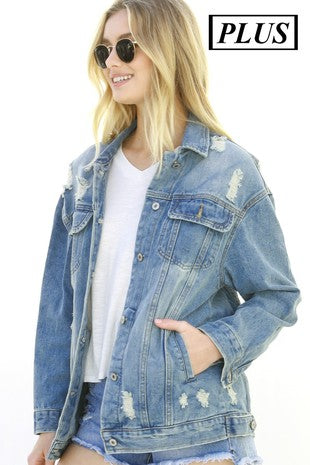 Plus Destroyed Denim Jacket with pockets