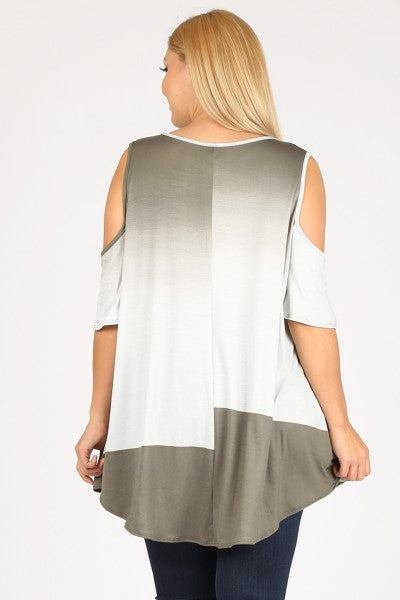 Sage Ombre Cold Shoulder Top 3x-5x only