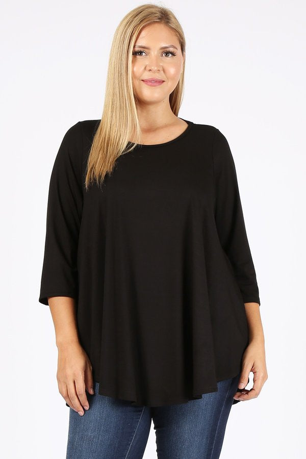 3/4 sleeve tunic 3X-5X only