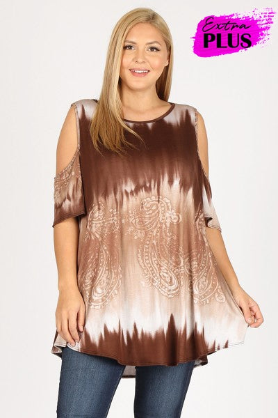 Chocolate Ombre Cold Shoulder Top 3x-5x only