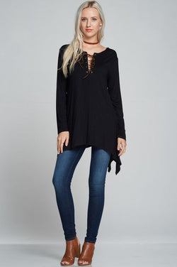 Lace-up Long Sleeve Black Top