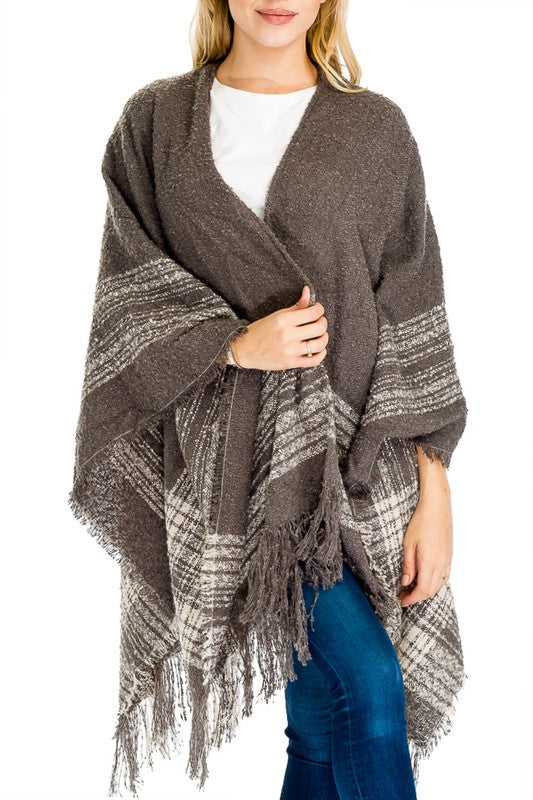 Grey Plaid Open Poncho