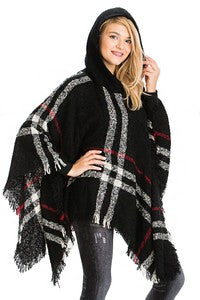 Plaid Ruana Poncho with Hood and Fringed Hem