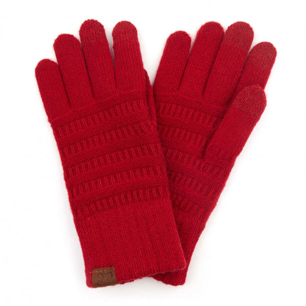 CC Solid Ribbed Knit Smart Touch Gloves