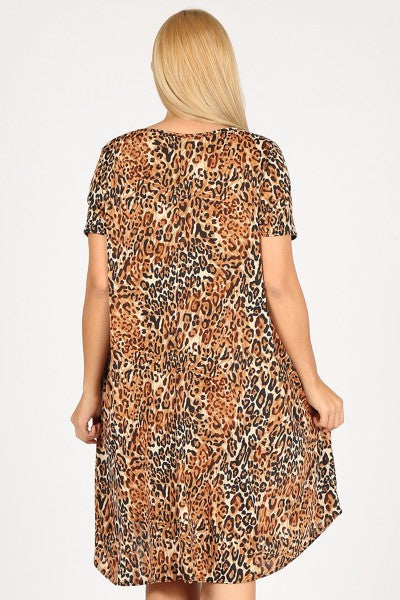 Leopard Print Dress With Pockets - 3x-5x only