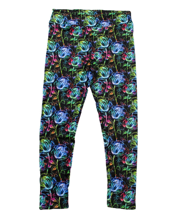 Rainbow Chalk Roses full length legging NO pockets