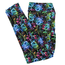 Rainbow Chalk Roses full length legging with pockets