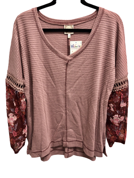 Plus Waffle Knit Top with floral accents