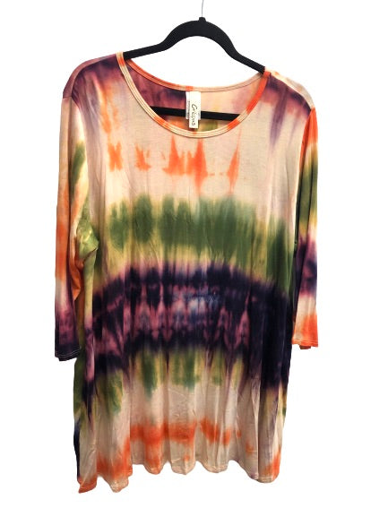 Tie Dye Multi Color 3/4 Sleeve Swing Top