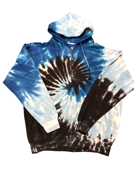 Blue and Black zip up tie dye jacket