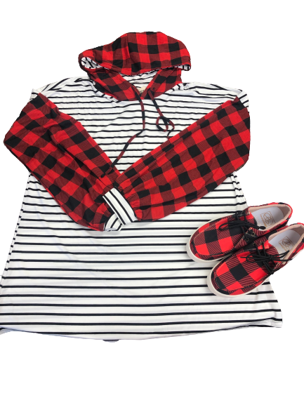 Striped Hoodie with Buffalo Plaid Bubble Sleeves