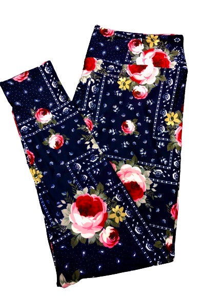 Bandana Roses Full Length Legging NO pockets