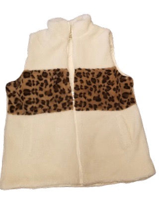 White Zip-up fur vest with Leopard accents