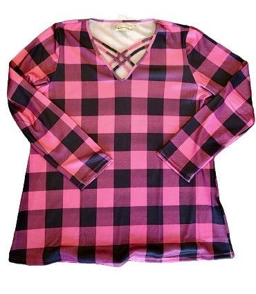 Fuchsia and Black Plaid Long Sleeve Top