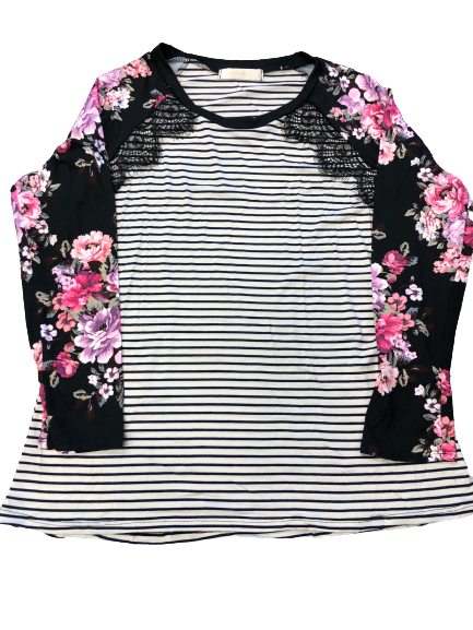Lace trim stripe/floral raglan