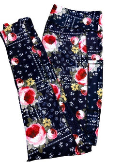 Bandana Roses Full Length Legging WITH pockets