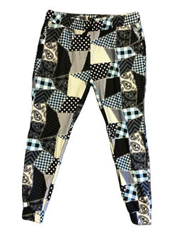 Black Patchwork full length jogger (has accents of light green)