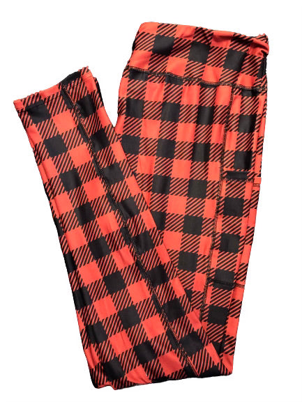 Buffalo Plaid Full Length Legging WITH pockets