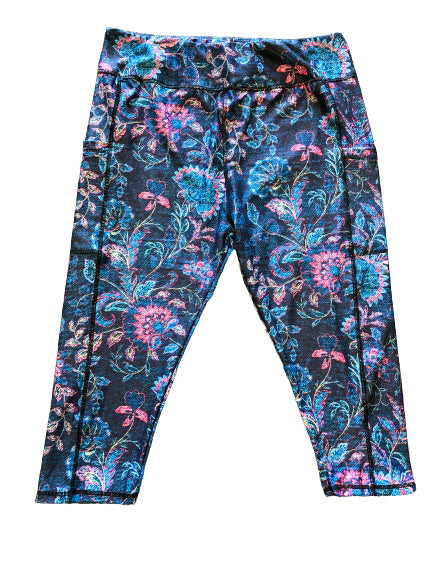 Denim Tapestry Capri legging with pockets