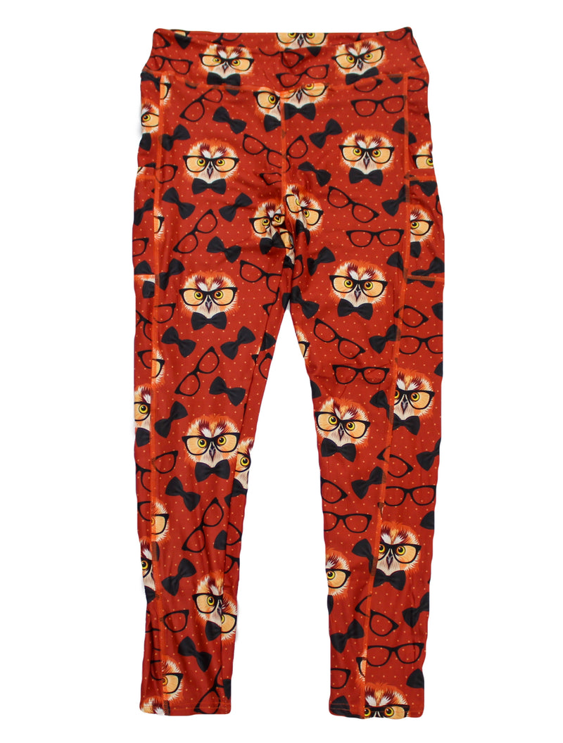 Scholarly Owls full length legging with pockets