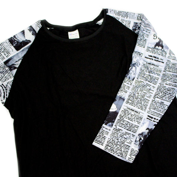Whimsies brand newsprint raglan