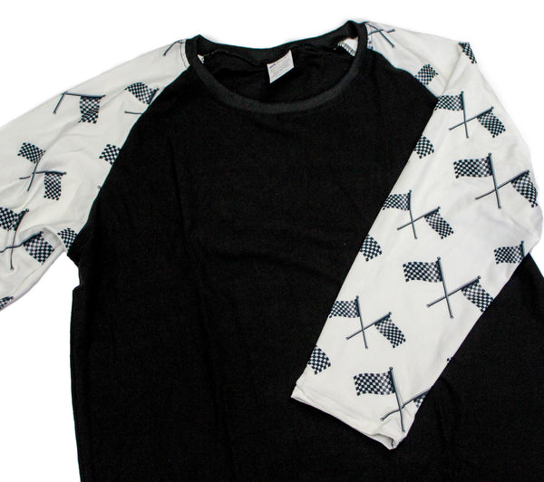 Whimsies brand checkered flag raglan