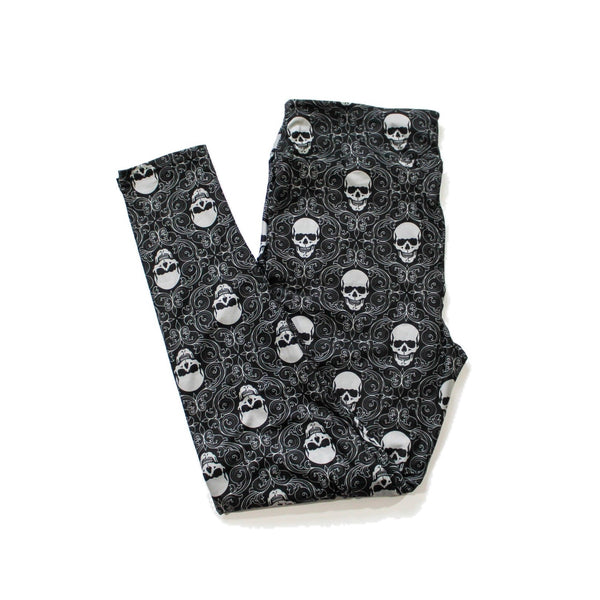 Damask Skulls full length legging NO pockets