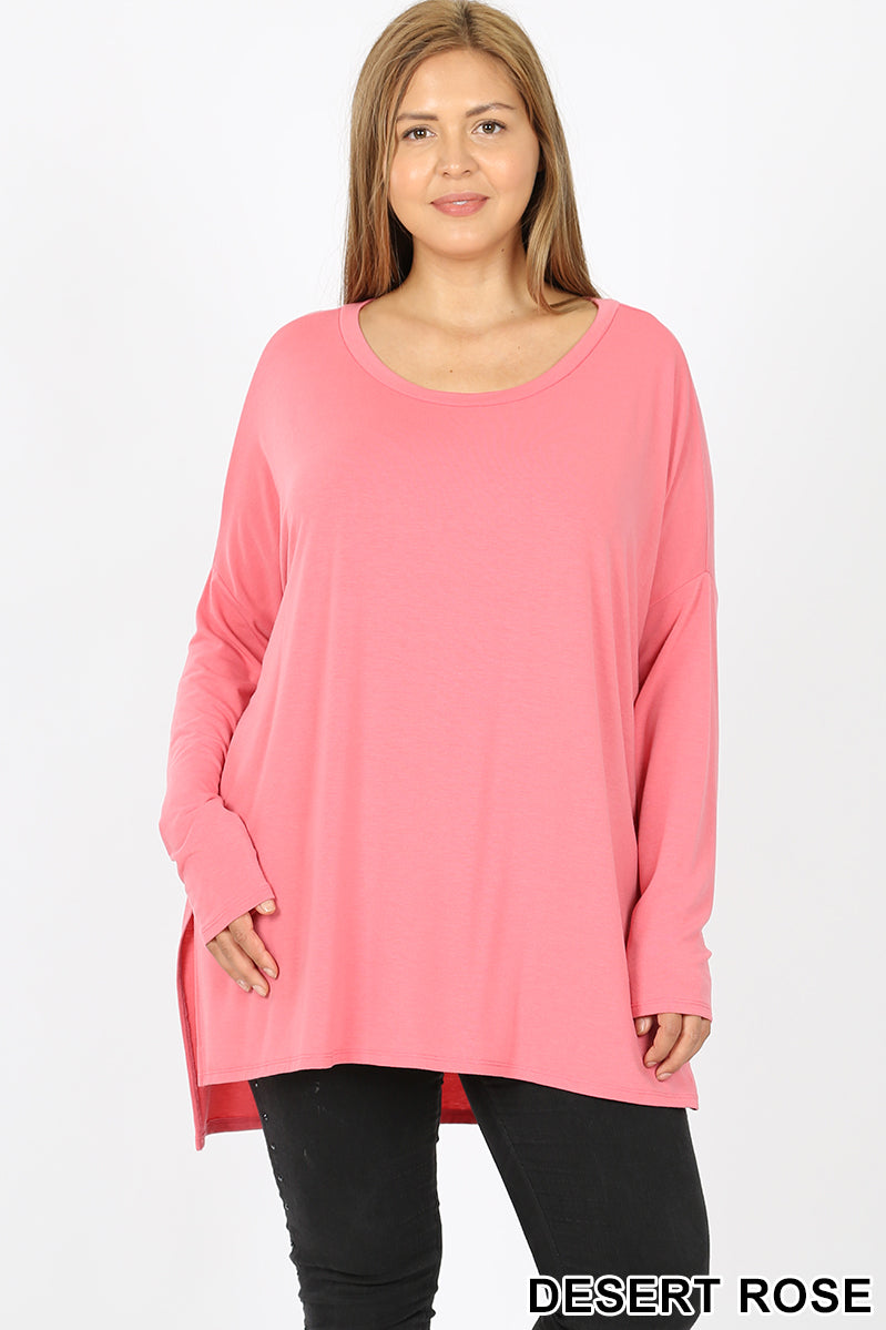 Dolman sleeve round neck slit hi-low hem top