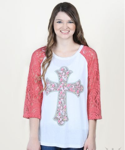 Floral Cross Raglan with Lace Sleeves