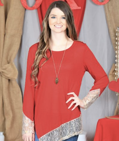 Asymmetrical Hem Red Shimmer Top