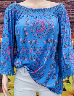 BQ5596 Off shoulder blue printed top