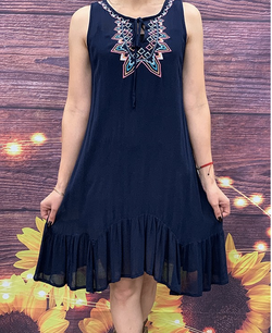 Navy blue dress w/embroidered tie front YMY5613