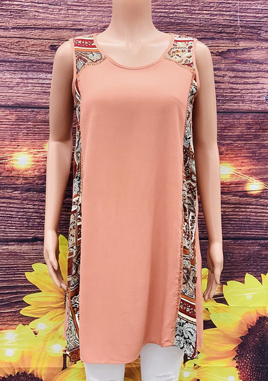 Terra Cotta solid/print sleeveless tunic