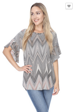 Ruffle Sleeve Chevron Print Top