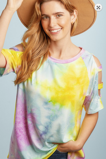 Tie Dye French Terry Round Neck Cut Out Raglan