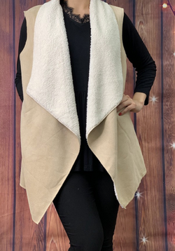 Cream Sherpa lined vest with pockets