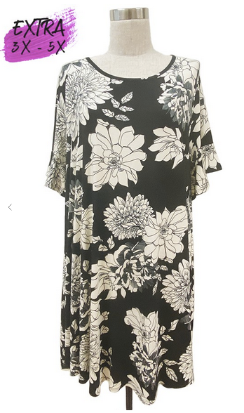 Black and Cream Floral Dress 3-5X only