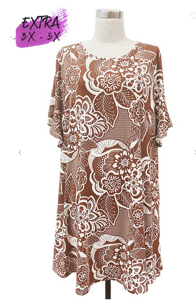 Rust Cream Floral Dress 3-5X only