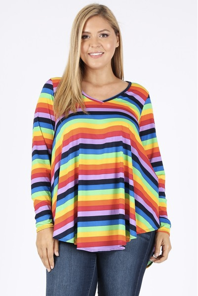 Rainbow Stripe tunic 3-5X only