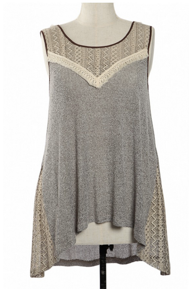 Aztec Lace Top with Criss Cross Tie Back