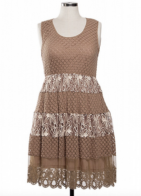 Cocoa and Ivory Lace Dress
