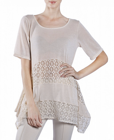 Short Sleeve Tunic With Lace Inserts