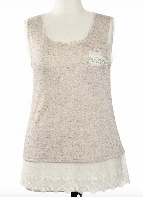 Tank top with lace hem and rhinestone pocket accent